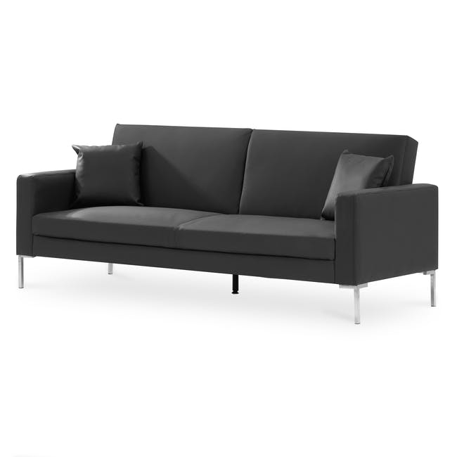 Leslie Sofa Bed - Slate Grey (Faux Leather) - 2