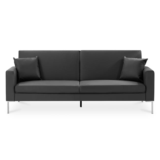 Leslie Sofa Bed - Slate Grey (Faux Leather) - 0