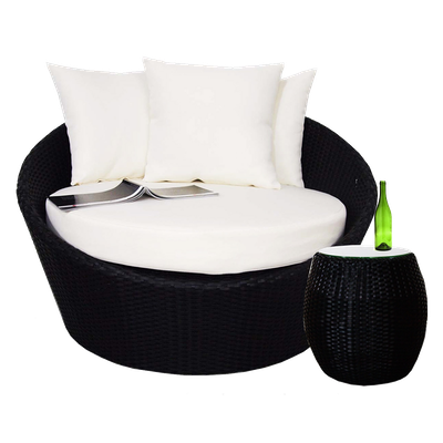 Round Sofa with Coffee Table Set - Cream Cushion - Image 1