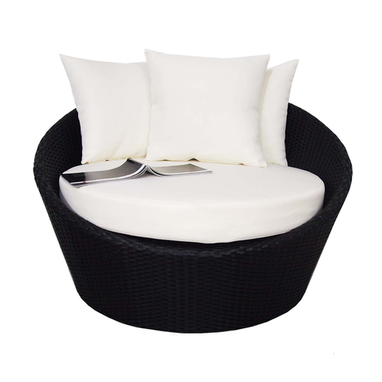 Arena Living - Round Sofa with Coffee Table Set - Cream Cushion