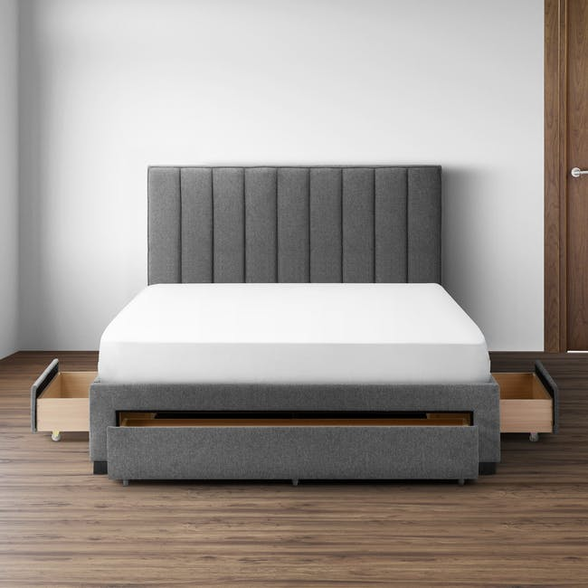 Lexi Queen 3 Drawer Bed - Shark Grey (Fabric) - 1