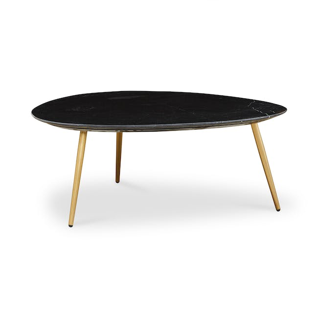 Sienna Marble Coffee Table - Black, Gold - 0