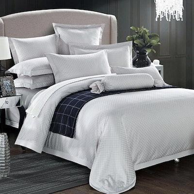 Jacquard Checkered Bedding Set - Pure White (King)