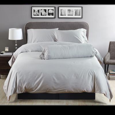 (Queen) Hotelier Prestigio™ 6-pc Bedding Set - Grey Silver Embroidery - Image 2