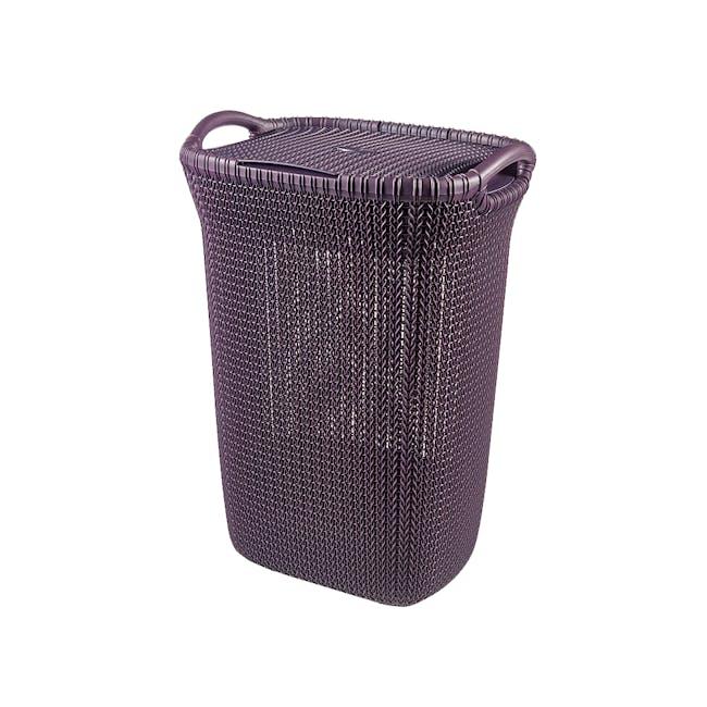 Knit Laundry Hamper with Lid 57L - TW Purple - 0