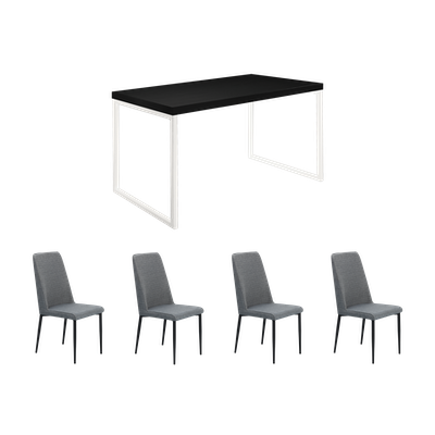 Brent Dining Table 1.2m with 4 Jake Dining Chairs - Black, White - Image 1