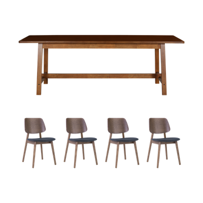Haynes Dining Table 2.2m with 4 Riley Dining Chairs - Walnut - Image 1