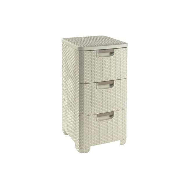 Rattan Style Drawer 3 - Off White - 2