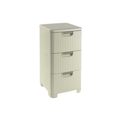 Rattan Style Drawer 3 - Off White - Image 1