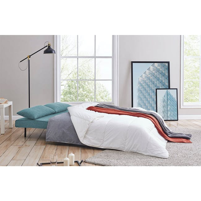 Noel 2 Seater Sofa Bed with Noel Sofa Bed - Teal - 2