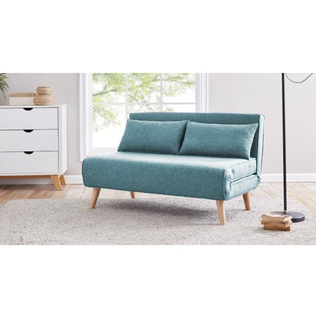 Noel 2 Seater Sofa Bed with Noel Sofa Bed - Teal - 1