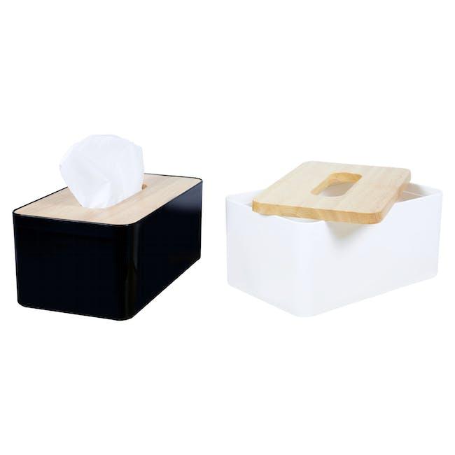 Wooden Tissue Box - White - 5