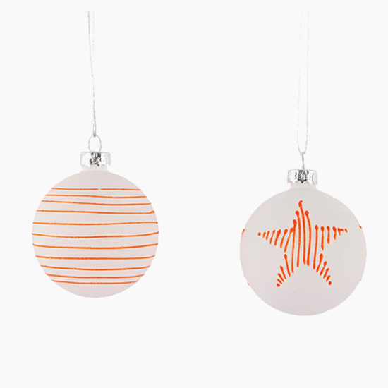 House Doctor - Details Ornament (Set of 2) - White, Neon