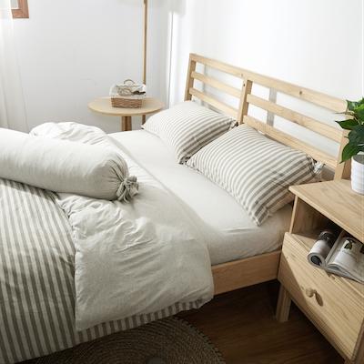 (Queen) Cotton Pure 6-pc Bedding Set - Brownie Beige Stripe - Image 2
