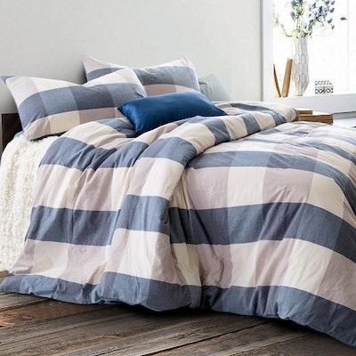 (Super Single) Soft Washed Cotton 3-Pc Bedding Set - Checkered Blue - Image 1