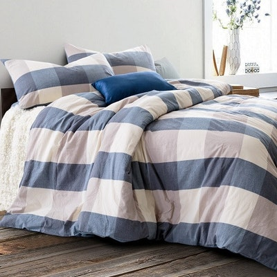 Soft Washed Cotton Bedding Set - Checkered Blue