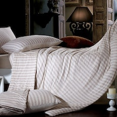 Jersey Striped Bedding Set - Light Brown