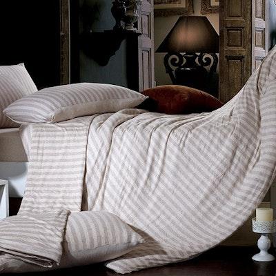 Jersey Striped Bedding Set - Light Brown (Queen)