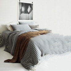 Knitted Cotton Striped Bedding Set - Grey