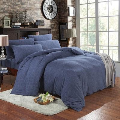 (Super Single) Jersey 4-Pc Bedding Set - Navy Blue - Image 1