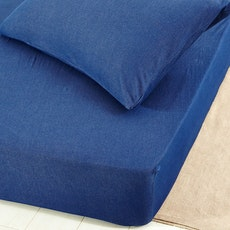 Cotton Denim 4-Pc Bedding Set - Blue - King
