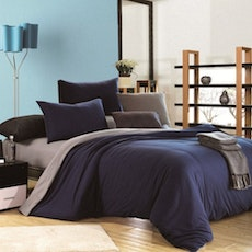 Knitted Cotton 4-Pc Bedding Set - Blue