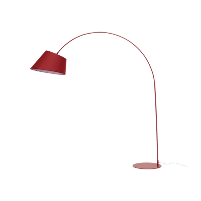 Long-Necked Floor Lamp - Matte Red (Fabric Shade) - Image 1
