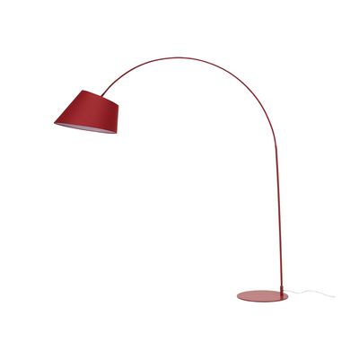 Helga Long Necked Floor Lamp Matte Red Fabric Shade Hipvan