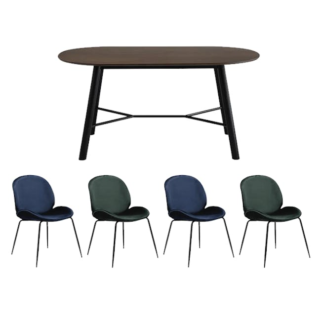 Telyn Oval Dining Table 1.6m with 4 Lennon Dining Chairs in Royal Blue and Pine Green Velvet - 0