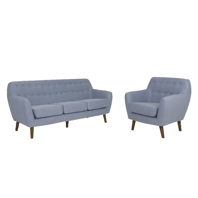 Emma 3 Seater Sofa with Emma Armchair - Dusk Blue - 0