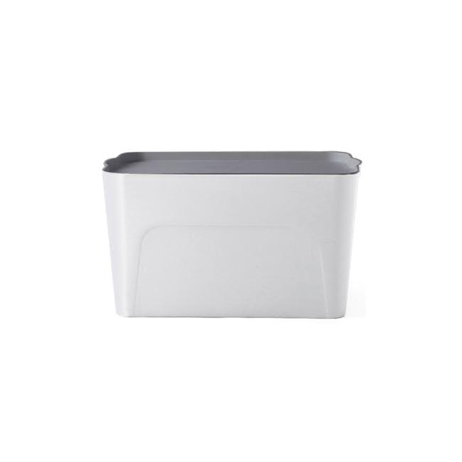 Clayton 8L White Storage Box with Grey Lid - 0