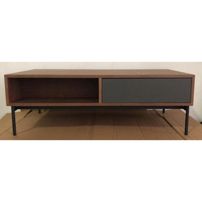 (As-is) Bacchus Twin Drawer Coffee Table - Grey, Walnut - 5 - 1