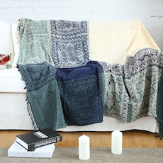 Knitted Throw Blanket - Blue Bohemian