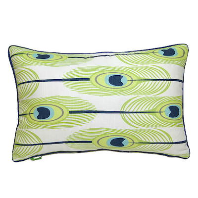Feathers Rectangle Cushion - Green - Image 1