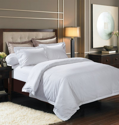 (King) Jacquard Stripes 5-Pc Bedding Set - Pure White - Image 2