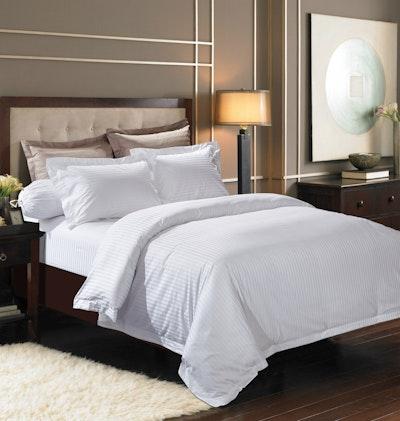 Jacquard Stripes Bedding Set - Pure White (King)