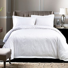 Geometric Sateen 5-Pc Bedding Set - Pure White