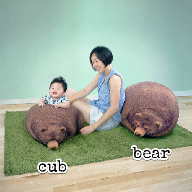 The Sleeping Grizzly Cub Bean Bag - 3