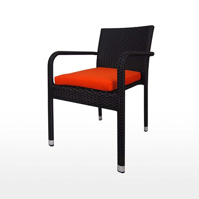 Boulevard Outdoor Dining Set with 4 Chair - Orange Cushion - 5