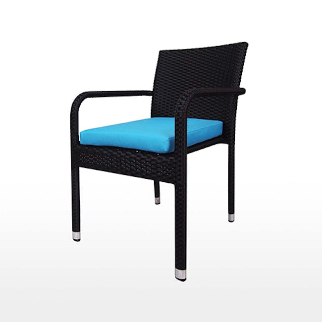Boulevard Outdoor Dining Set with 6 Chair - Blue Cushion - 5