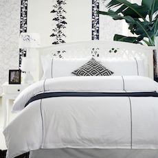 Single / Super Single Stripe Hem 5-Pc Bedding Set - Navy