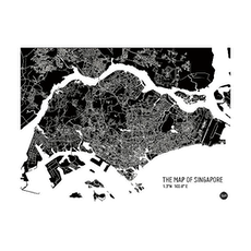 Map of Singapore - Black