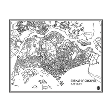 Map of Singapore - Monochrome