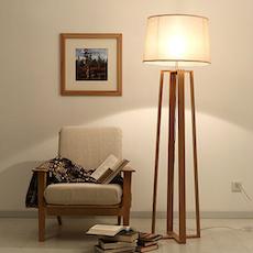 Wooden Pyramid Floor Lamp
