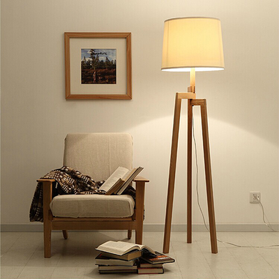 Wooden Tripod Floor Lamp - Natural