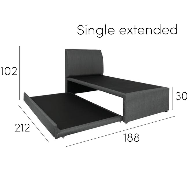 ESSENTIALS Single Trundle Bed - Smoke (Fabric) - 18