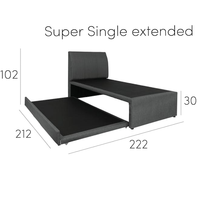 ESSENTIALS Single Trundle Bed - Smoke (Fabric) - 19