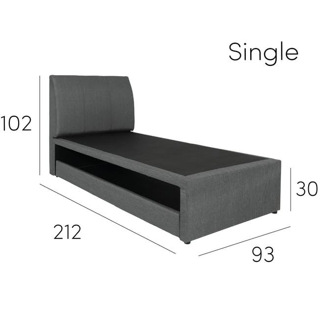 ESSENTIALS Single Trundle Bed - Smoke (Fabric) - 21