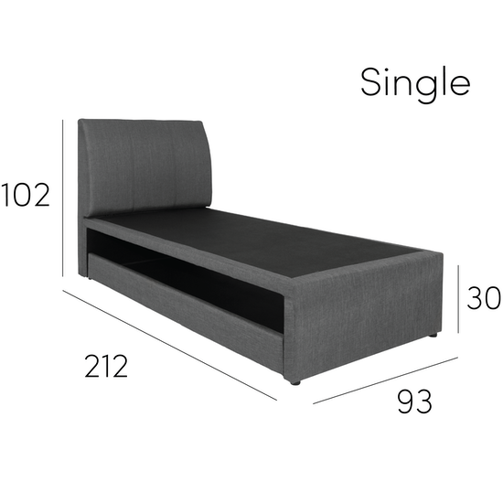 Chen Dynasty - ESSENTIALS Super Single Trundle Bed - Smoke (Fabric)