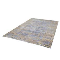 Aqua Silk Rug - Blue, Shimmer Gold